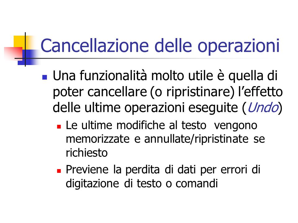 Cancellazione delle operazioni