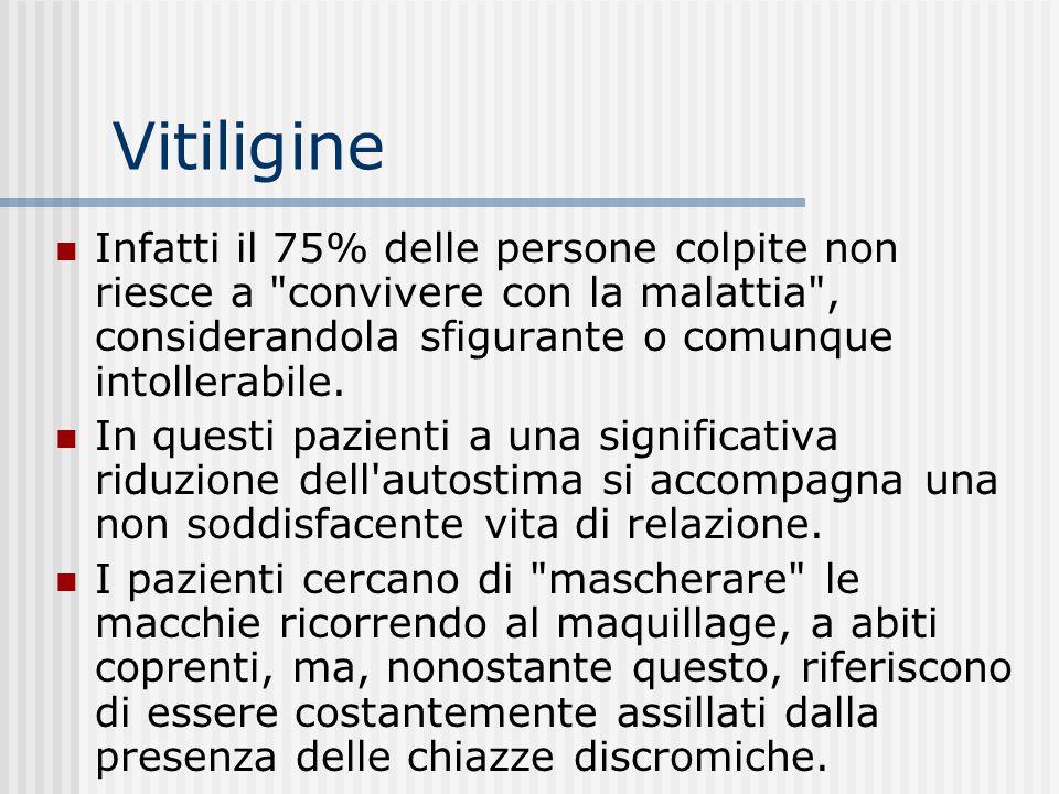 Vitiligine Infatti il 75% delle persone colpite non riesce a convivere con la malattia , considerandola sfigurante o comunque intollerabile.