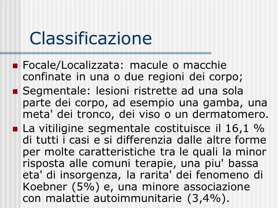 Classificazione Focale/Localizzata: macule o macchie confinate in una o due regioni dei corpo;