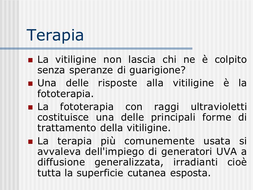 Terapia La vitiligine non lascia chi ne è colpito senza speranze di guarigione Una delle risposte alla vitiligine è la fototerapia.