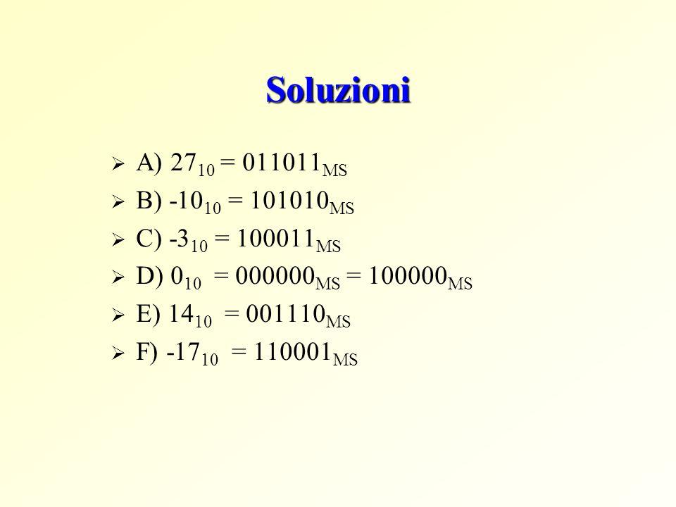 Soluzioni A) 2710 = 011011MS B) -1010 = 101010MS C) -310 = 100011MS
