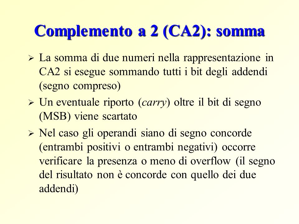 Complemento a 2 (CA2): somma