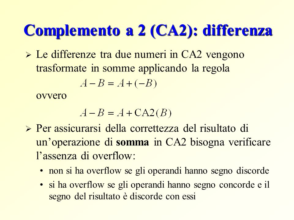 Complemento a 2 (CA2): differenza