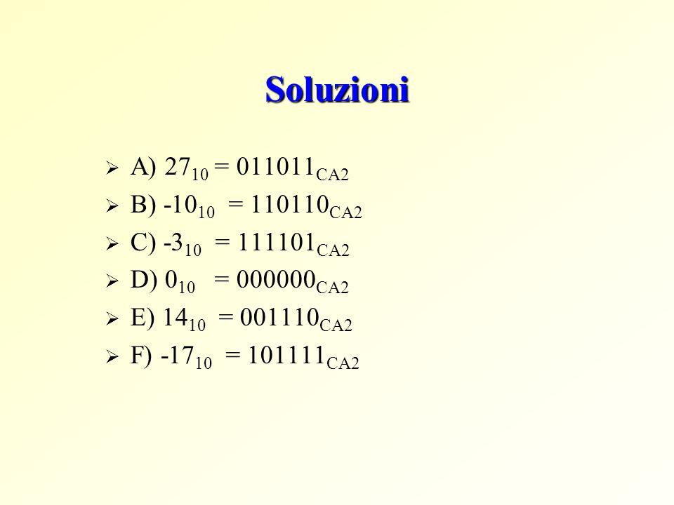 Soluzioni A) 2710 = 011011CA2 B) -1010 = 110110CA2 C) -310 = 111101CA2