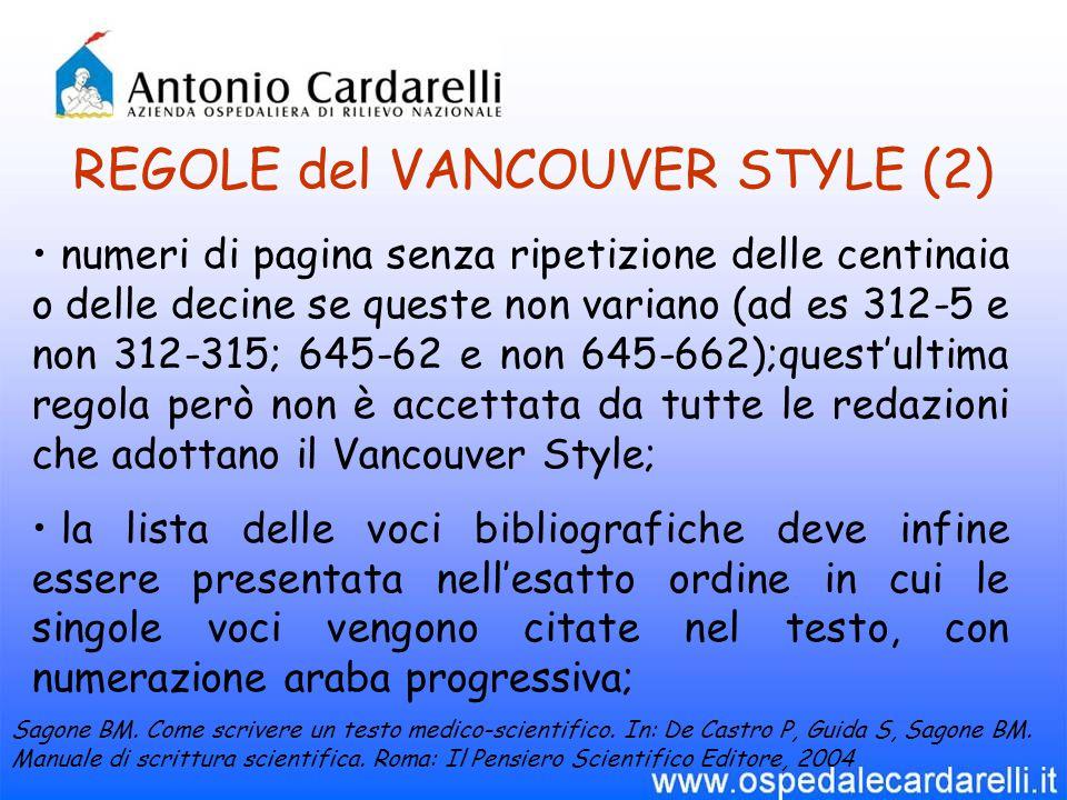 REGOLE del VANCOUVER STYLE (2)