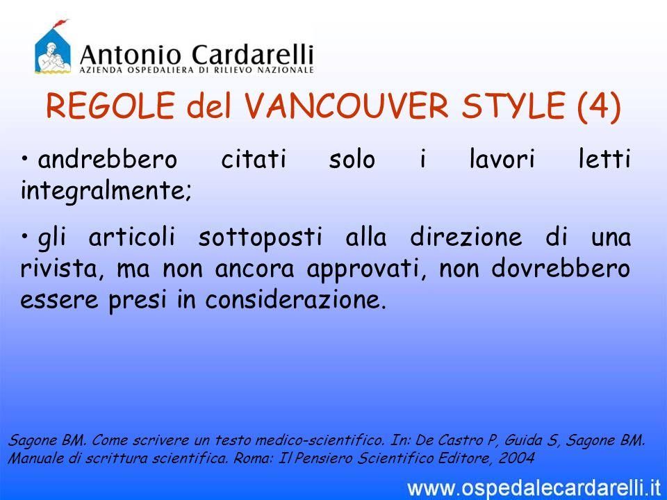 REGOLE del VANCOUVER STYLE (4)