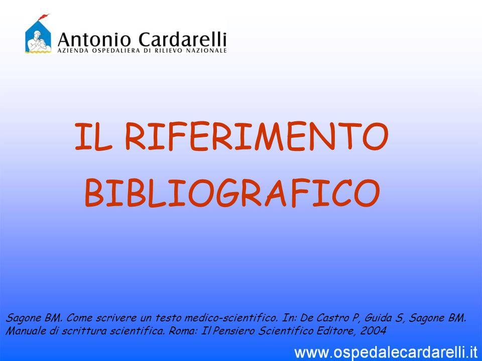 IL RIFERIMENTO BIBLIOGRAFICO