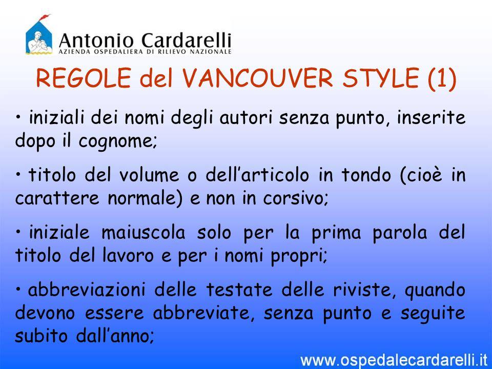 REGOLE del VANCOUVER STYLE (1)
