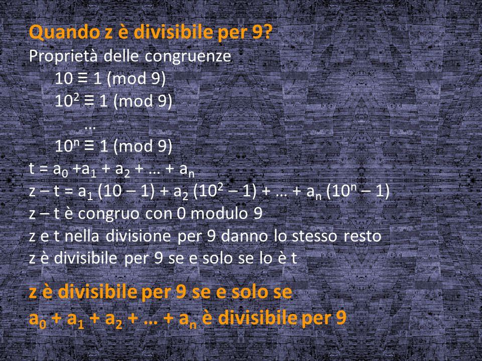 Quando z è divisibile per 9