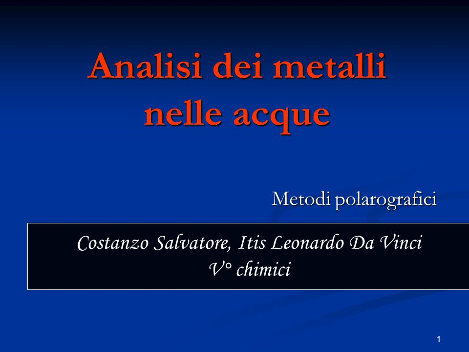 Analisi dei metalli nelle acque