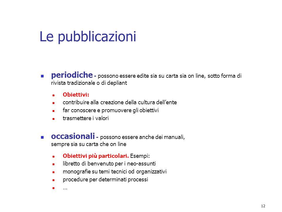 Le pubblicazioni periodiche - possono essere edite sia su carta sia on line, sotto forma di rivista tradizionale o di depliant.