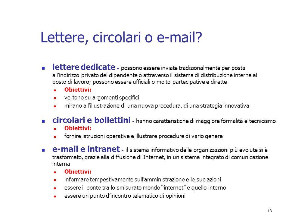 Lettere, circolari o e-mail