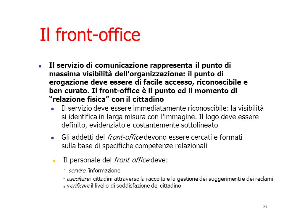Il front-office