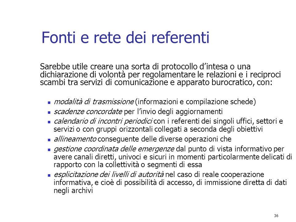 Fonti e rete dei referenti