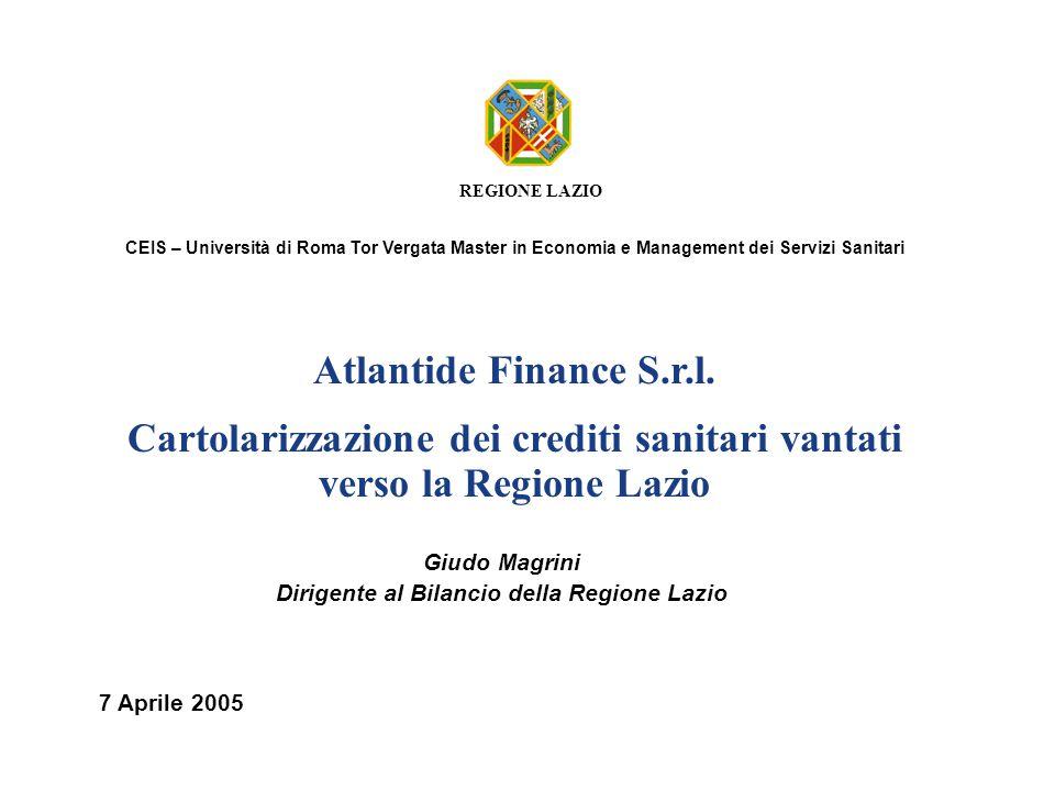 Cartolarizzazione dei crediti sanitari vantati verso la Regione Lazio