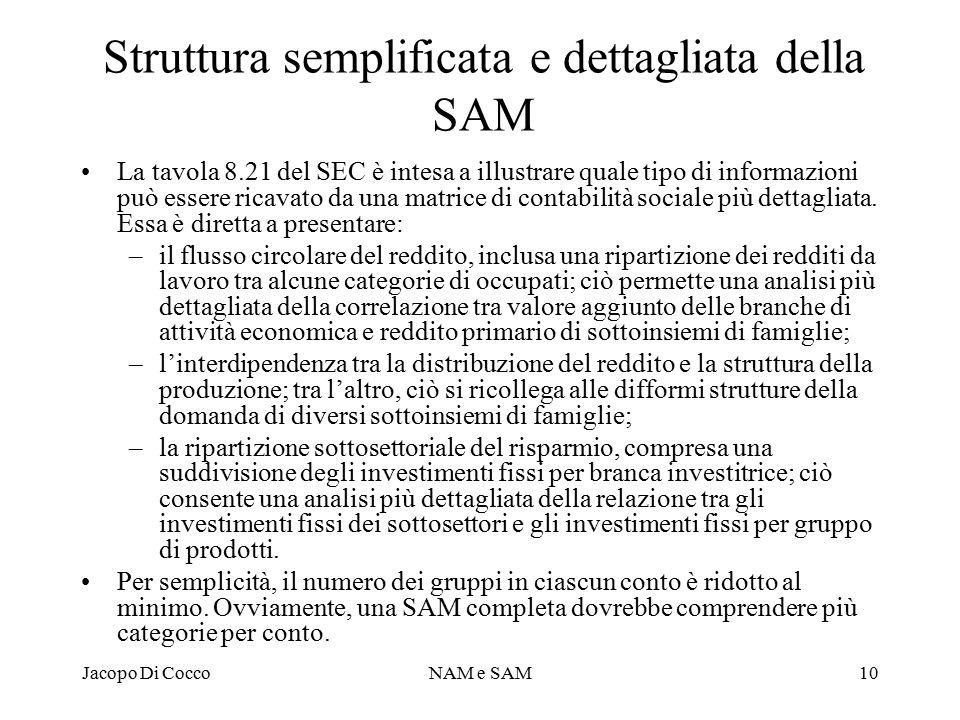 Struttura semplificata e dettagliata della SAM