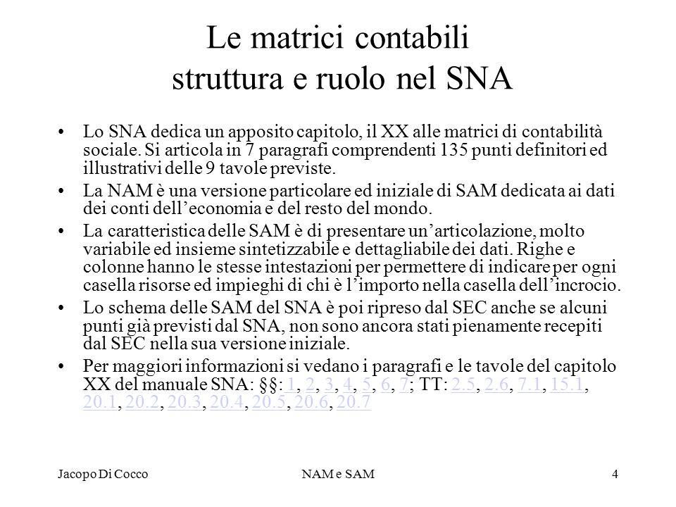 Le matrici contabili struttura e ruolo nel SNA