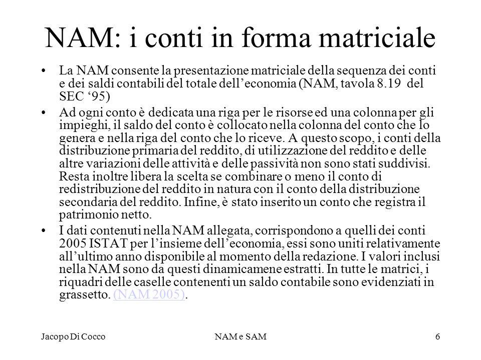 NAM: i conti in forma matriciale