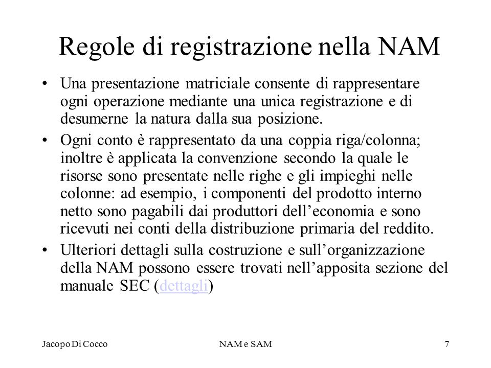 Regole di registrazione nella NAM