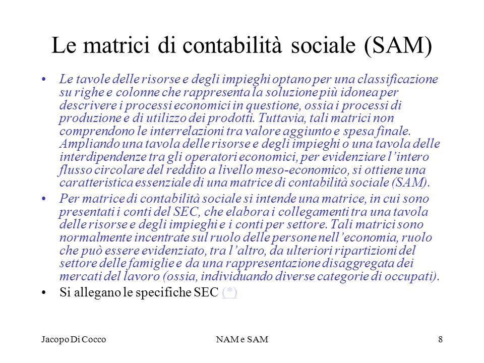 Le matrici di contabilità sociale (SAM)