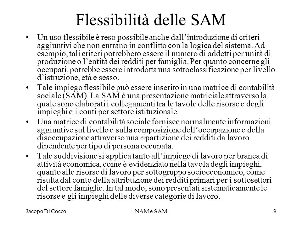 Flessibilità delle SAM