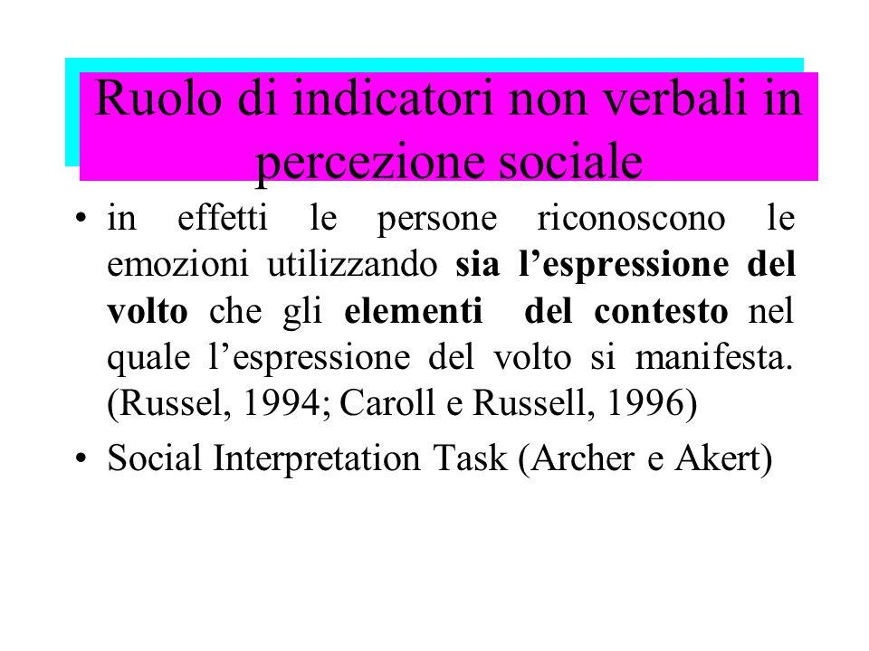 Ruolo di indicatori non verbali in percezione sociale