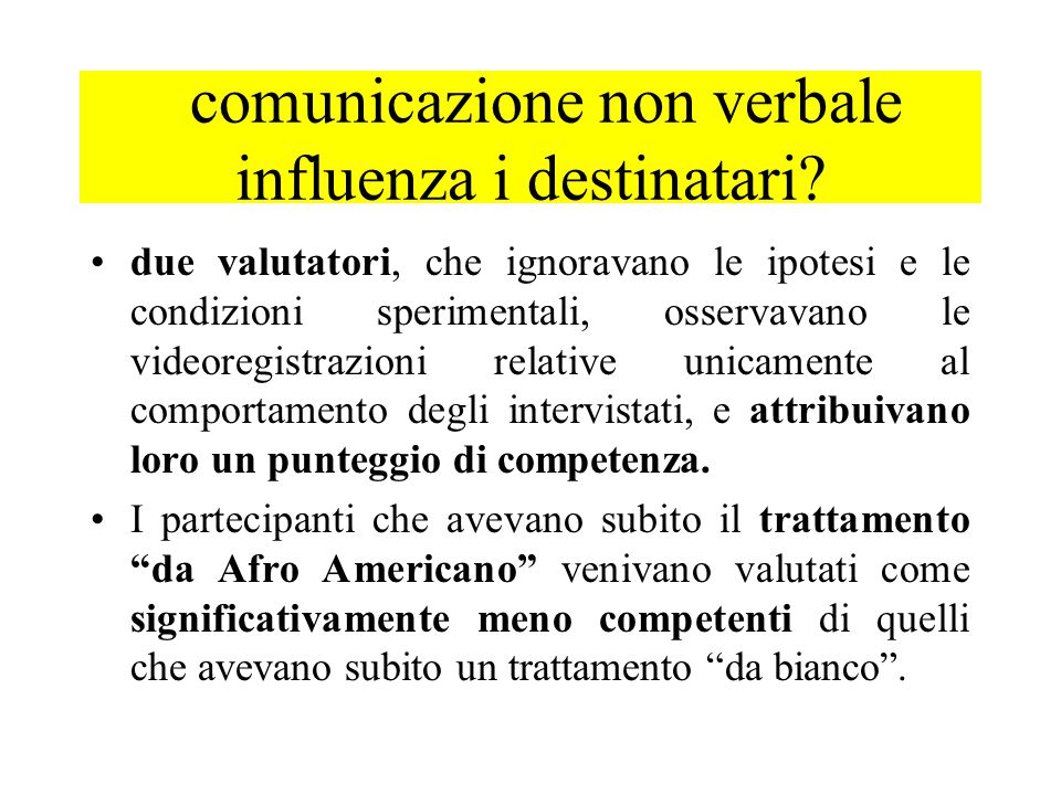 comunicazione non verbale influenza i destinatari