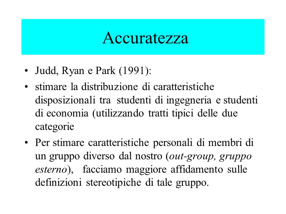 Accuratezza Judd, Ryan e Park (1991):