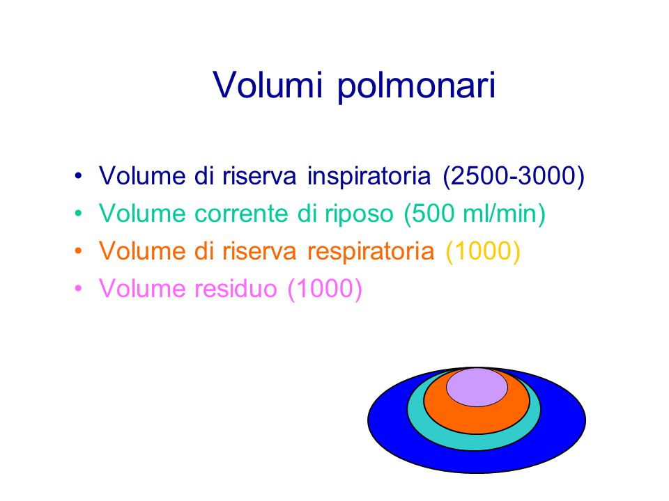 Volumi polmonari Volume di riserva inspiratoria (2500-3000)