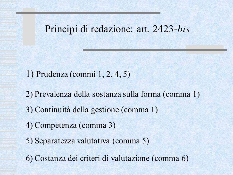 Principi di redazione: art. 2423-bis