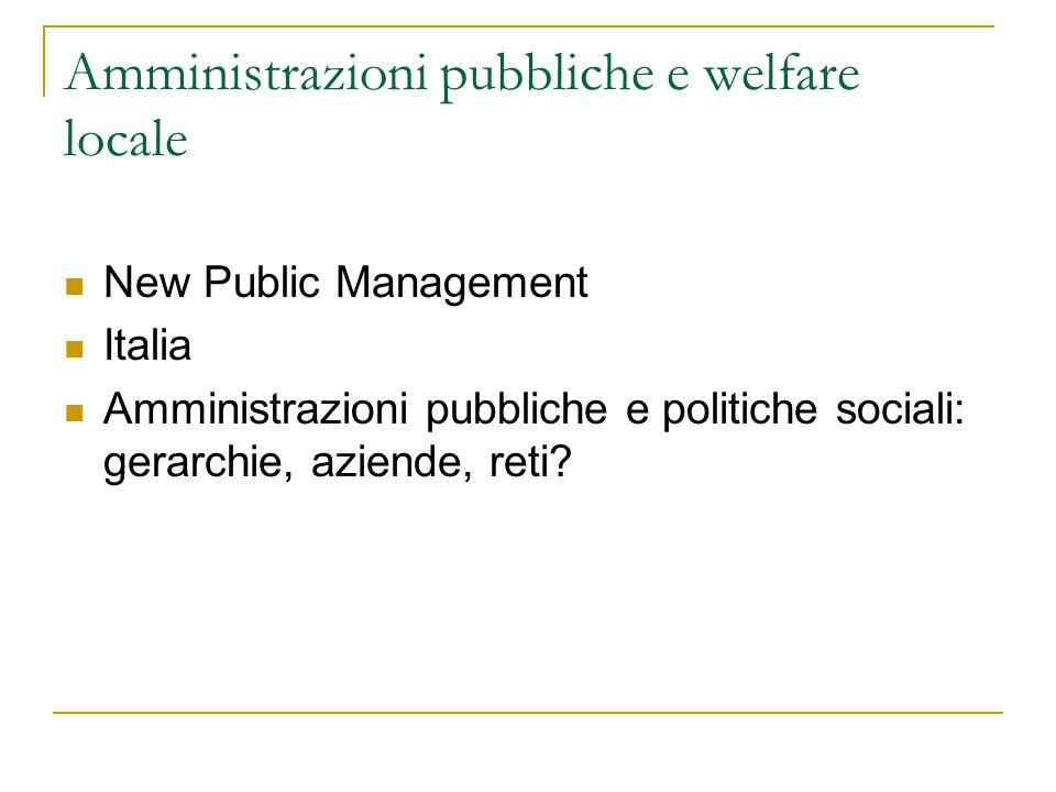 Amministrazioni pubbliche e welfare locale
