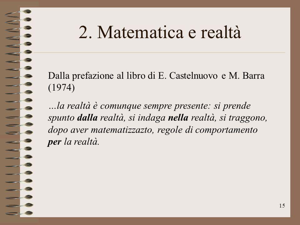 2. Matematica e realtà Dalla prefazione al libro di E. Castelnuovo e M. Barra (1974)