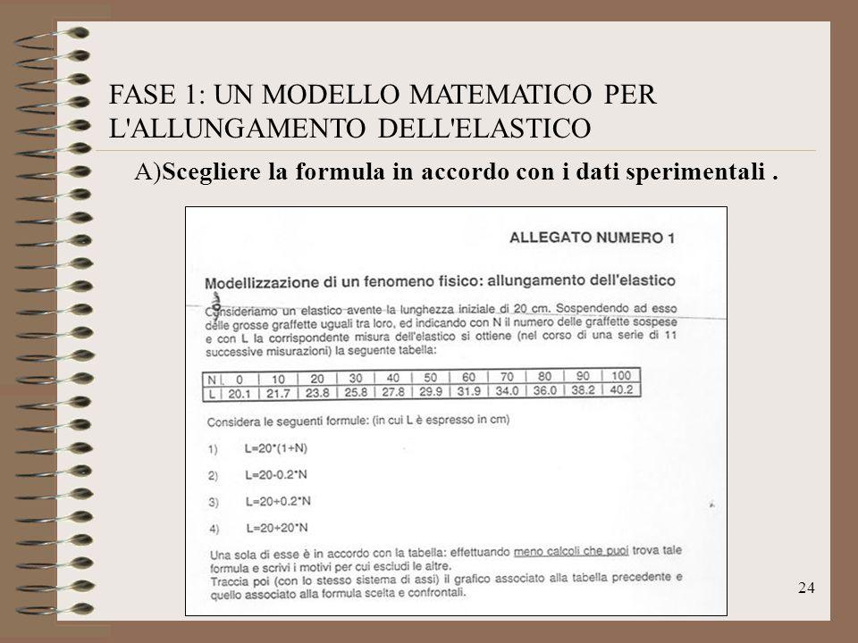 FASE 1: UN MODELLO MATEMATICO PER L ALLUNGAMENTO DELL ELASTICO