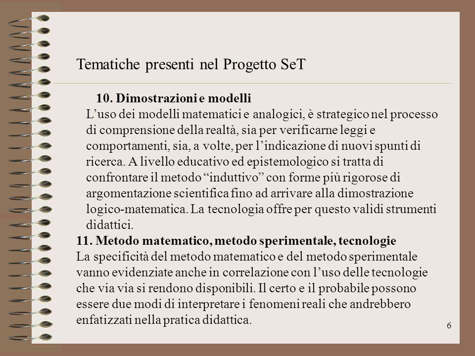Tematiche presenti nel Progetto SeT