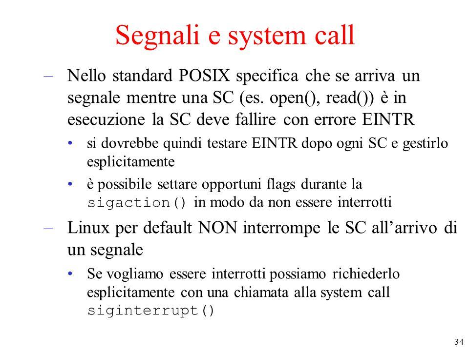 Segnali e system call