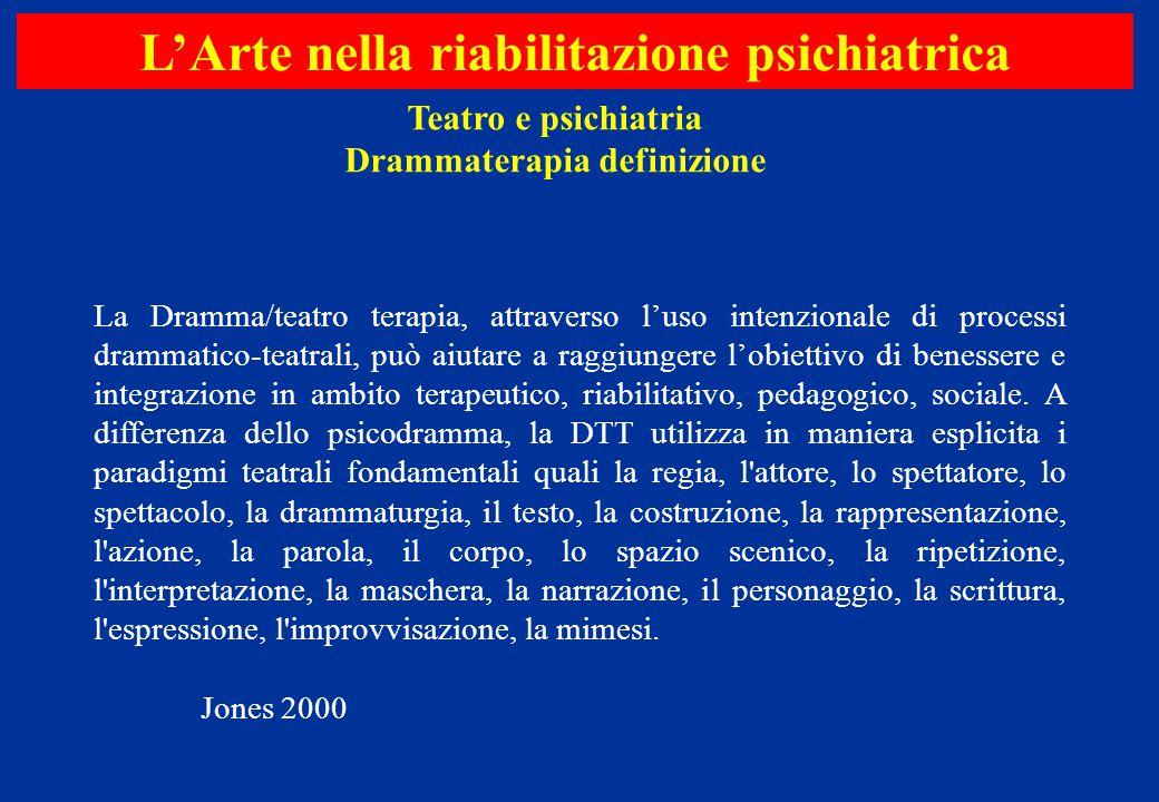 L'Arte nella riabilitazione psichiatrica Drammaterapia definizione