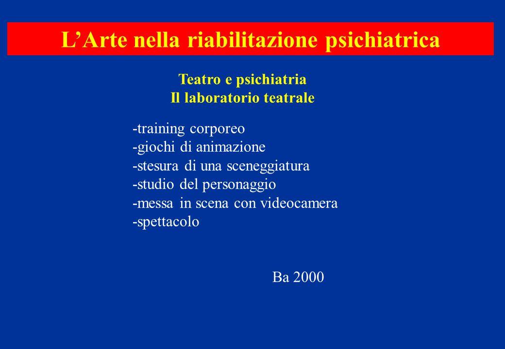 L'Arte nella riabilitazione psichiatrica Il laboratorio teatrale