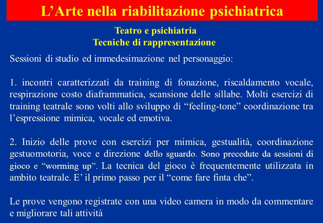 L'Arte nella riabilitazione psichiatrica Tecniche di rappresentazione