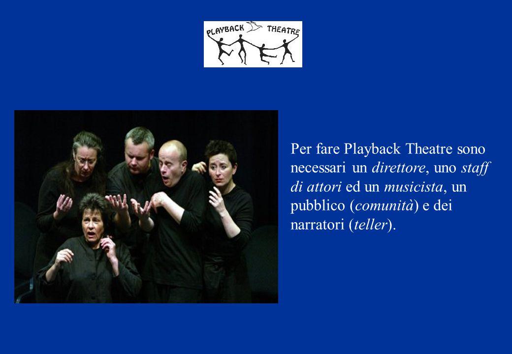 Per fare Playback Theatre sono necessari un direttore, uno staff di attori ed un musicista, un pubblico (comunità) e dei narratori (teller).