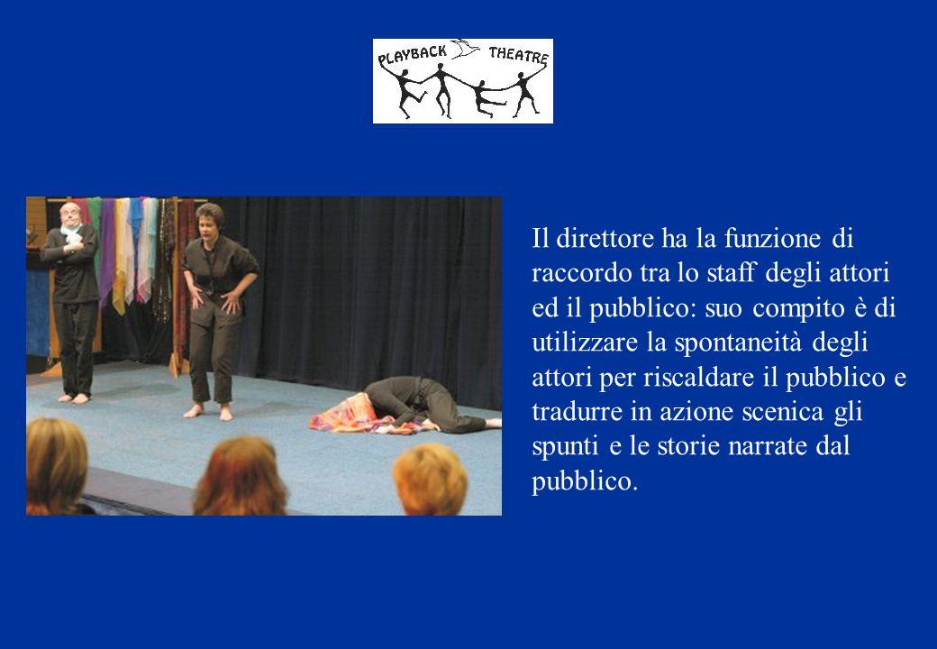 Il direttore ha la funzione di raccordo tra lo staff degli attori ed il pubblico: suo compito è di utilizzare la spontaneità degli attori per riscaldare il pubblico e tradurre in azione scenica gli spunti e le storie narrate dal pubblico.