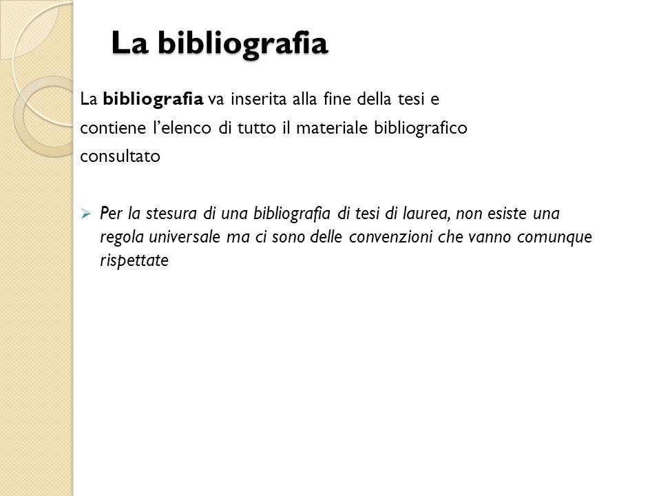 La bibliografia La bibliografia va inserita alla fine della tesi e