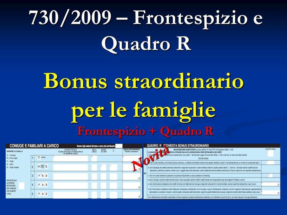 730/2009 – Frontespizio e Quadro R