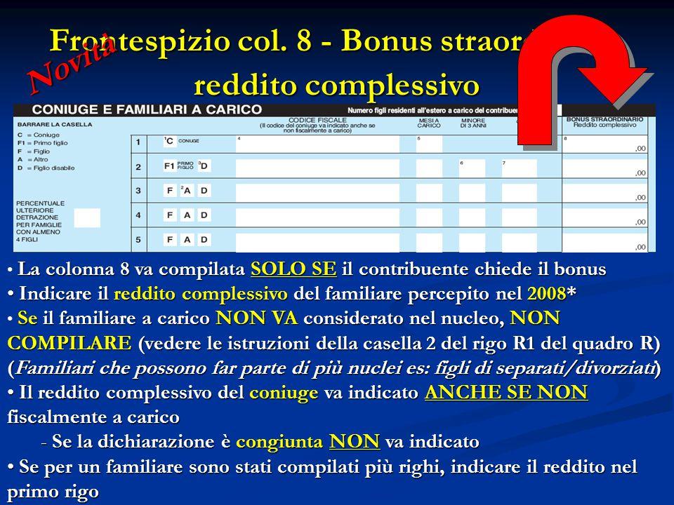 Frontespizio col. 8 - Bonus straordinario reddito complessivo