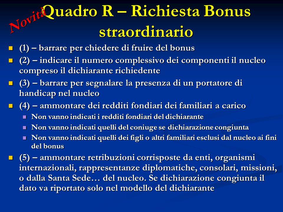 Quadro R – Richiesta Bonus straordinario