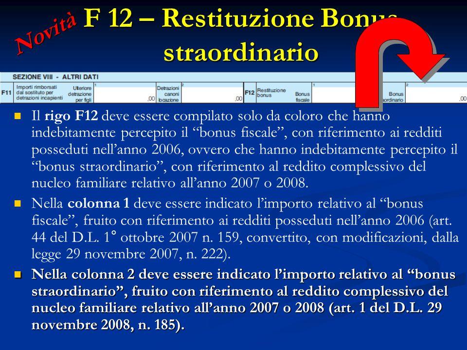 F 12 – Restituzione Bonus straordinario