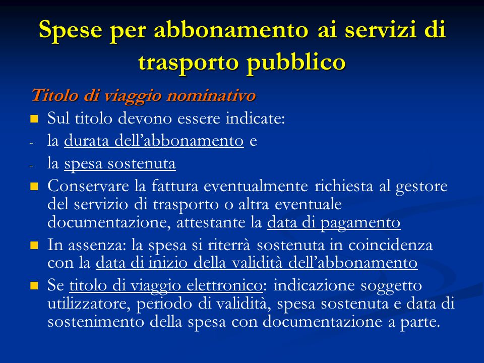 Spese per abbonamento ai servizi di trasporto pubblico