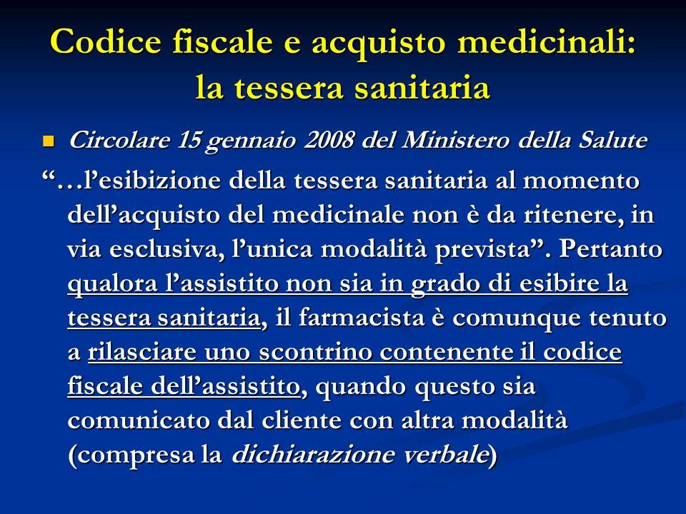 Codice fiscale e acquisto medicinali: la tessera sanitaria