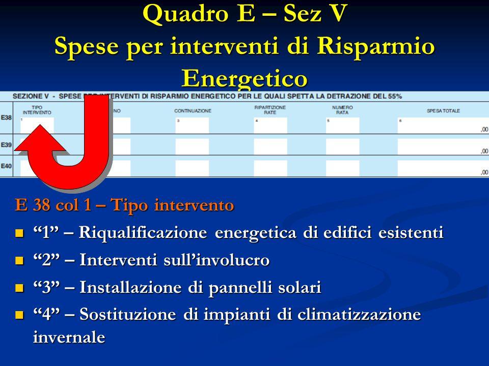 Quadro E – Sez V Spese per interventi di Risparmio Energetico