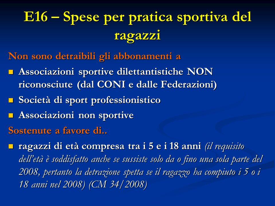E16 – Spese per pratica sportiva del ragazzi