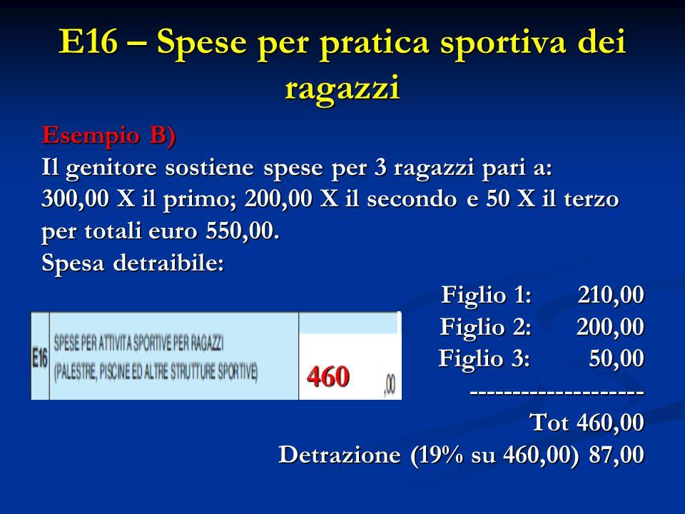 E16 – Spese per pratica sportiva dei ragazzi